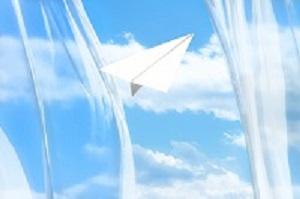 窓から飛ばす紙ひこうき