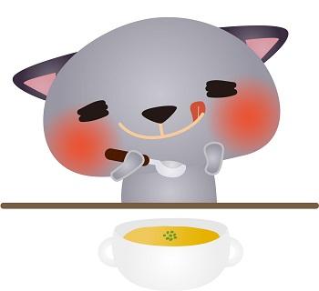 スープを飲む猫