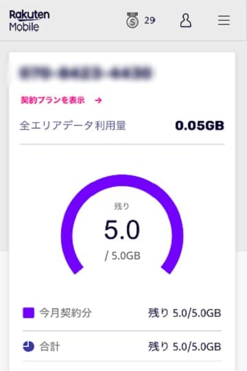 楽天モバイル,myRakuten利用したデータ量を7見る
