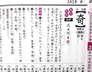 奇,漢字のなりたちと意味