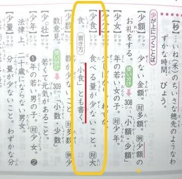 少食,漢字辞典
