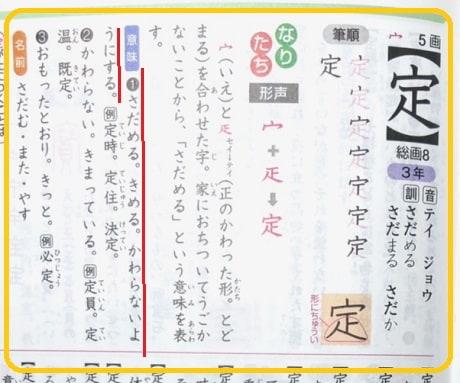 改定,定,漢字のなりたちと意味